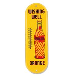 Wishing Well Orange Tin Thermometer