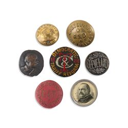 1880s Political Lapel Studs, Uniform Buttons
