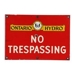 Ontario Hydro Porcelain Sign