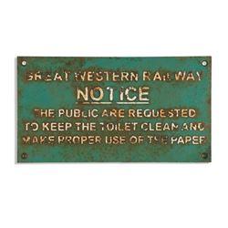 G.W. Railway Restroom Plaque