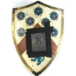 """""""Prince James"""" SFX shield used against """"The Behemoth"""" with spear entry hole from Once Upon a Time."""