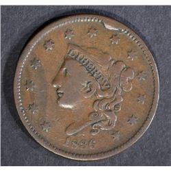 1836 LARGE CENT, VF large rim cud