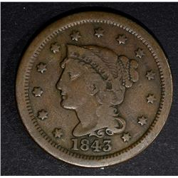 1843 LARGE CENT N-16 F/VF