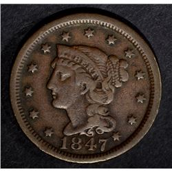 1847 LARGE CENT, VF
