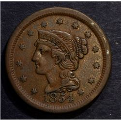 1854 LARGE CENT, CHOICE XF