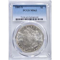 1881-S MORGAN DOLLAR, PCGS MS-63