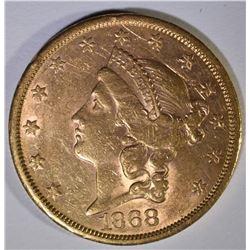 1868-S $20.00 GOLD LIBERTY  AU