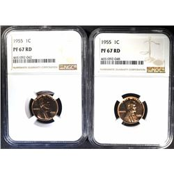 2-1955 LINCOLN CENTS NGC PF67 RD