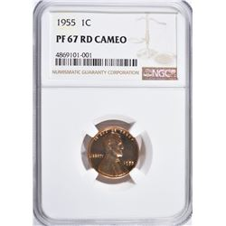 1955 LINCOLN CENT, NGC PF-67 RED CAMEO