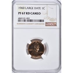 1960 LG DATE LINCOLN CENT, NGC PF-67 RED CAMEO
