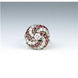 18CAI-19 DIAMOND  RUBY COCKTAIL RING