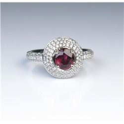 18CAI-18 BURMESE RUBY  DIAMOND RING