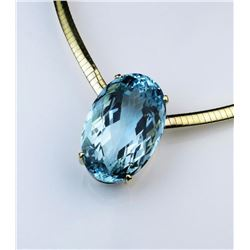 18CAI-1 AQUAMARINE  DIAMOND PENDANT