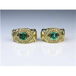 18CAI-4 BULGARI STYLE EMERALD  DIAMOND EARRINGS