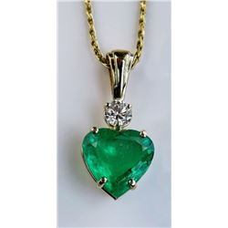 18CAI-5 EMERALD  DIAMOND PENDANT