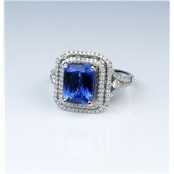 18CAI-12 TANZANITE  DIAMOND RING