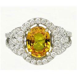 18CAI-16 YELLOW SAPPHIRE  DIAMOND RING