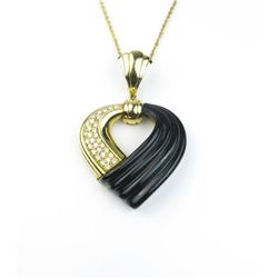 18CAI-24 BLACK ONYX  DIAMOND PENDANT