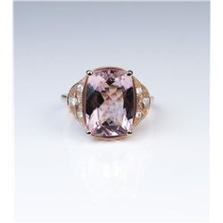 18CAI-52 ROSE GOLD MORGANITE  DIAMOND RING