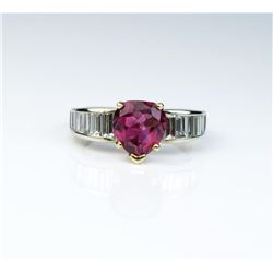 18CAI-26 PINK TOURMALINE  DIAMOND RING