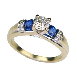 18CAI-27 BLUE DAPPHIRE  DIAMOND RING