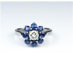 18CAI-57 BLUE SAPPHIRE  DIAMOND RING