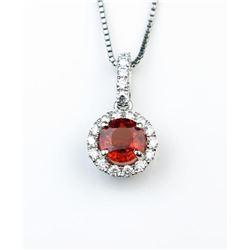 18CAI-58 RED SAPPHIRE  DIAMOND PENDANT
