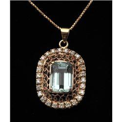 18RPS-33 AQUAMARINE  DIAMOND RING