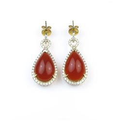 18CAI-38 FIRE OPAL  DIAMOND EARRINGS