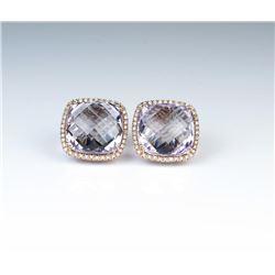 18CAI-53 PINK AMETHYST  DIAMOND EARRINGS