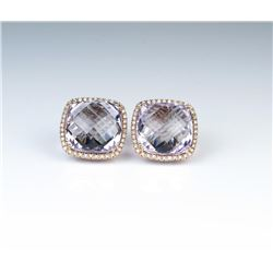 18CAI-53 PINK AMETHYST  DIAMOND EARRINGS