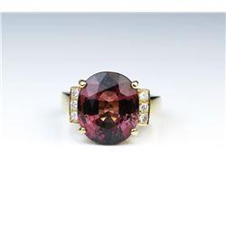 18CAI-35 PINK TOURMALINE  DIAMOND RING