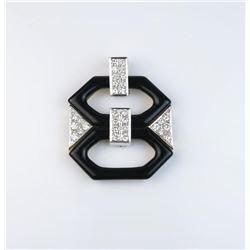 18CAI-15 BLACK ONYX  DIAMOND PENDANT