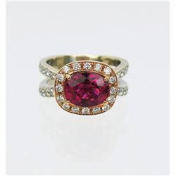 18CAI-11 RUBELLITE  DIAMOND RING