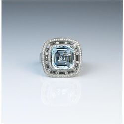 18CAI-6 AQUAMARINE  DIAMOND RING