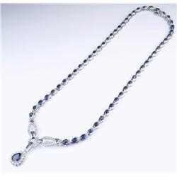 18CAI-3 BLUE SAPPHIRE  DIAMOND NECKLACE