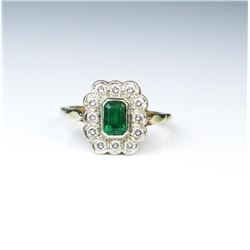 18CAI-65 EMERALD  DIAMOND RING