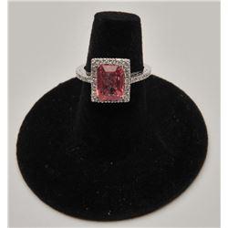18RPS-30 PINK TOURMALINE  DIAMOND RING