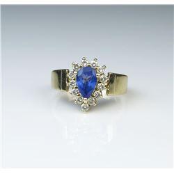 18CAI-73 TANZANITE  DIAMOND RING