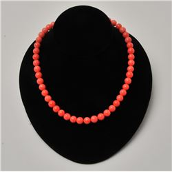 18RPS-36 CORAL BEAD NECKLACE