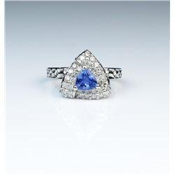 18CAI-80 TANZANITE  DIAMOND RING
