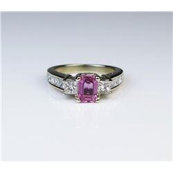 18CAI-31 PINK SAPPHIRE  DIAMOND RING