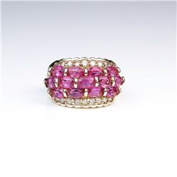18CAI-44 PINK TOURMALINE  DIAMOND RING