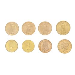 COINS: [8] Assorted date and mint gold coins; (2) $50 Canadian Maple Leafs 1982, 1998, (1) 1897 $20