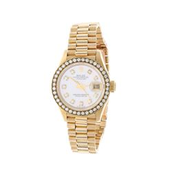WATCH: [1] 18kt yellow gold ladies Rolex DateJust Oyster Perpetual automatic wristwatch; Aftermarket