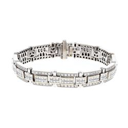 BRACELET: [1] 18KWG bracelet, 8 inch,12.0mm, with princess rbc diamonds, 312 diamonds, 10.50 cts. TW