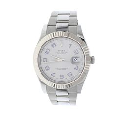 WATCH: [1] Stainless Steel Rolex DateJust II Oyster Perpetual wristwatch; Rhodium dial with blue Ara