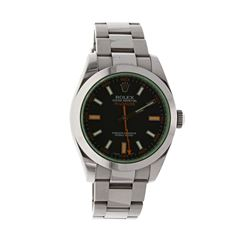 ROLEX: [1] Stainless steel Rolex Milligauss watch, 4mm case, black dial with stick markers and light