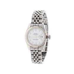 ROLEX: [1] Stainless steel Rolex Oyster Perpetual DateJust watch, 26mm case, white dial with diamond