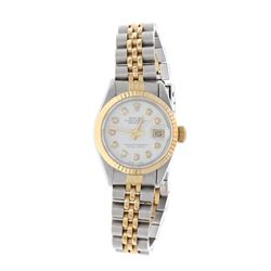 ROLEX: [1] 18k yellow gold & stainless steel Rolex Oyster Perpetual DateJust watch, 26mm case, white